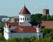 Orthodox Church of the Holy Mother of God, with Gediminas' tower in background.
