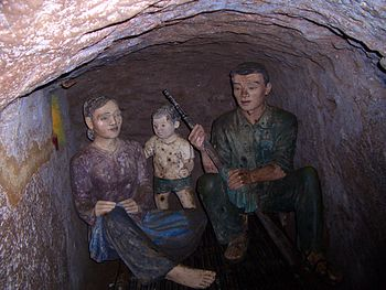 A family room in Vinh Moc tunnels, Quang Tri, ...