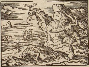 Aesacus - Aesacus and Hesperia, engraving by Virgil Solis for Ovid's Metamorphoses Book XI, 749-795.