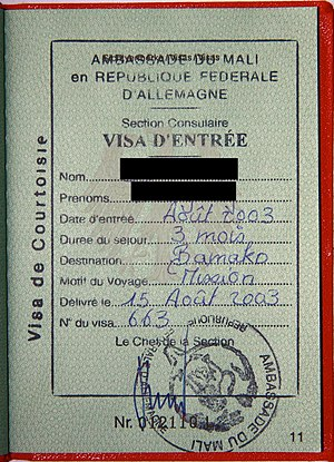 Foreign relations of Mali - A Visa for Mali