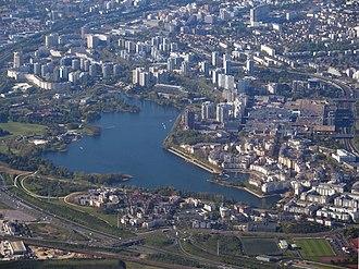 Lac de Créteil - Aerial view of the lake with surrounding housing developments