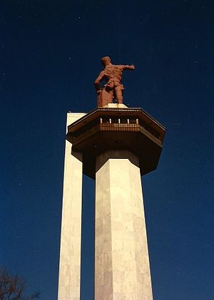 Vulcan statue - Photograph of Vulcan  dated to January 1990. The photograph shows how the statue looked prior to the 1999–2004 restoration.