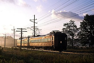 Interurban - A Pullman Company electric interurban unit heading west toward Michigan City on the South Shore Line in 1980