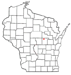 Location of Wyoming, Waupaca County, Wisconsin