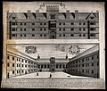 Wadham College, Oxford; exterior, quadrangle with a key and Wellcome V0014179.jpg