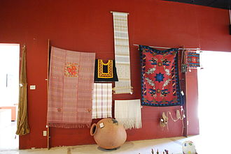 San Bartolo Coyotepec - Display of local Textile arts at MEAPO - State Museum of Popular Art of Oaxaca.
