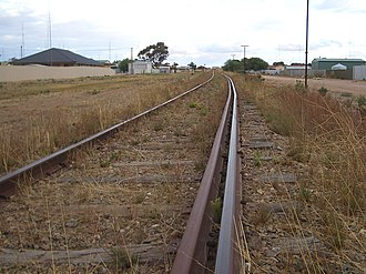 Balaklava-Moonta railway line - Dual gauge track at Wallaroo, March 2008