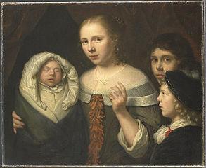 Portrait d'une jeune femme et trois enfants