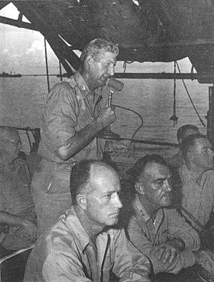 Stafford L. Warren - Colonel Stafford L. Warren (with microphone) at Operation Crossroads, 1946