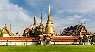 Wat Phra Kaew - View of Wat Phra Kaew from the Outer Court of the Grand Palace