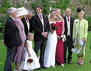 Preparing for the photographs, at a wedding at Thornbury Castle, England