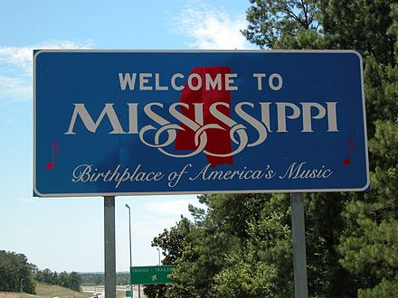 The Mississippi state sign located on Interstate 20 West from Alabama Welcometomississippi i-20.jpg
