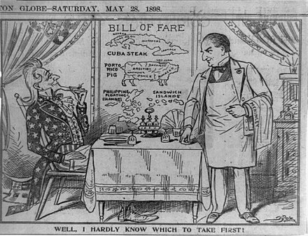 Political cartoon of 1898 Well, I hardly know which to take first! 5-28-1898.JPG