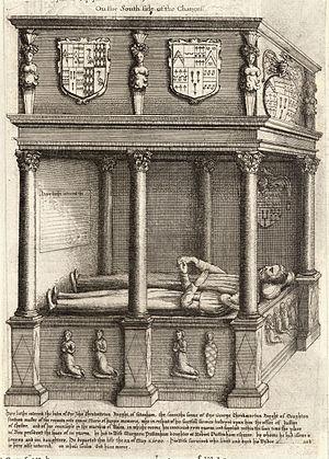 John Throckmorton - Monument with effigies of Sir John Throckmorton and his wife Margaret Puttenham, SE corner of chancel, Coughton Church, Warwickshire, drawn by Wenceslaus Hollar (d.1677)