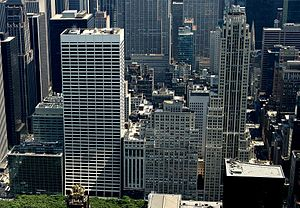 Salmon Tower Building - From left to right: HBO headquarters, W. R. Grace Building, Aeolian Building (houses the State University of New York College of Optometry), Salmon Tower Building and 500 Fifth Avenue (annotated image on Commons).