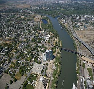West Sacramento, California - Aerial view of West Sacramento and Sacramento River.