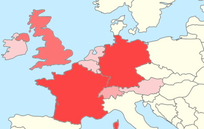 Map of Western Europe showing the location of all UNESCO World Heritage Sites in Western Europe.