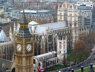 Grade I listed buildings in the City of Westminster - An aerial view of three Grade I listed buildings in Westminster: The Palace of Westminster, Westminster Abbey and St Margaret's Church, which together comprise a UNESCO World Heritage Site.