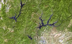 Whiskeytown–Shasta–Trinity National Recreation Area - Satellite view of 3 lakes—recreation area units.