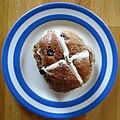 Wholemeal Hot Cross Bun on blue and white plate.jpg