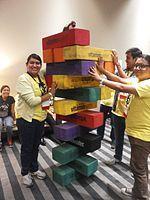 Wikimania 2015-Wednesday-Volunteers play Weasel-Jenga (27).jpg