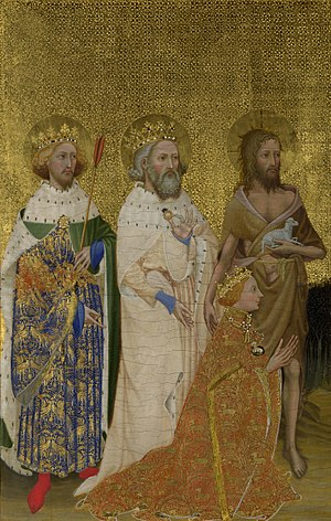 Wilton Diptych - The Wilton diptych; The Wilton Diptych; c. 1395–99; each panel is 53 x 37 cm, left-hand panel