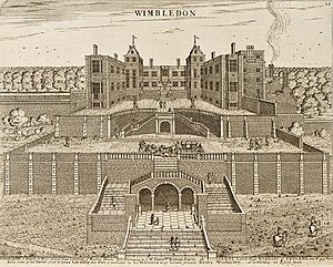 Wimbledon Manor House - Wimbledon Palace. North front. Built 1588. Etching by Henry Winstanley 1678 for Lord Danby.