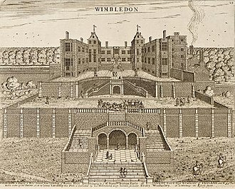 Henry Winstanley - Wimbledon Palace. North front. Built 1588. Etching by Henry Winstanley 1678 for Lord Danby.