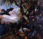 Withoos, Matthias - - -Landscape with drugged birds in the flowers and underbrush of a wood - c. 1660.jpg