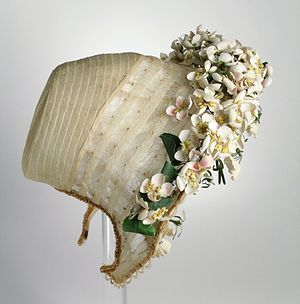 Coal scuttle bonnet - American wedding bonnet of coal-scuttle shape at the Los Angeles County Museum of Art