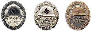 Wound Badge - The 20 July version of the Badge shown in black, silver and gold