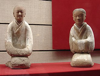 Emperor Wen of Han - Ceramic female attendants from the tomb of Empress Dou (d. 135 BC), Western Han dynasty, Shaanxi History Museum, Xi'an