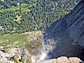 Yosemite Falls, view from top. Hiking trail is visible on right at the base of the wall. - panoramio.jpg