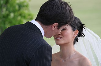 Public display of affection - Married couple's first kiss