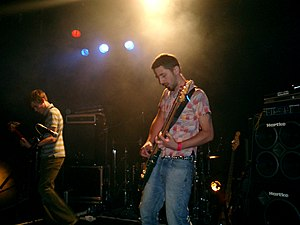 Youthmovies - Andrew Mears and Stephen Hammond of Youthmovie Soundtrack Strategies on stage at the Institute of Contemporary Arts, London, in July 2004