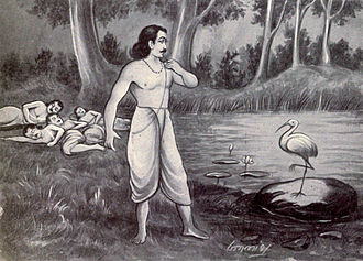 Vana Parva - In the Araneya sub-book, Yaksha kills four Pandava brothers, one after another, when they arrive at a lake to fetch water. Yudhishthira arrives at the lake (shown). Yaksha offers to revive their life, if Yudhishthira answers his questions correctly. Yaksha asks some 144 questions on nature of human life, virtues, ethics, duties and society. This is one of many discussions of virtues and ethics in Aranya Parva.