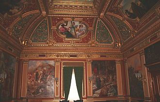 Mato Celestin Medović -  The Golden Hall of the Institute of History in Zagreb, with paintings by Mato Celestin Medović