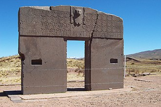 Indigenous peoples in Bolivia - The Gateway of the Sun at Tiwanaku