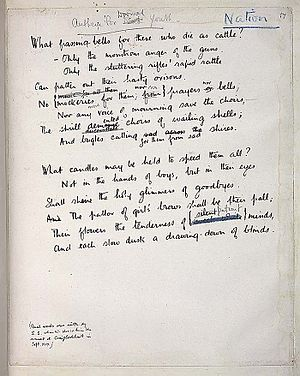 "Anthem for Doomed Youth - Original manuscript of Owen's ""Anthem for Doomed Youth"", showing Sassoon's revisions"