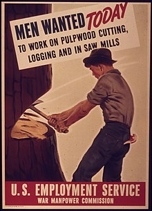 Poster for the US Employment Service recruiting timber workers