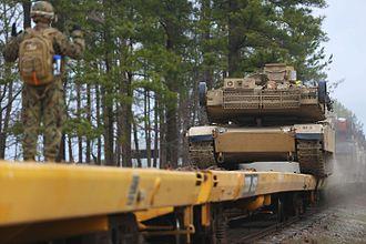Fort Pickett - Marines unload M1A1 Abrams tanks at Fort Pickett in preparation of field training.
