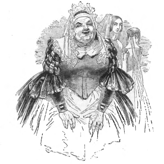 "Nurse (Romeo and Juliet) - The Nurse delivering her ""Yet I cannot choose but laugh"" line in Act I scene III in an 1847 drawing"