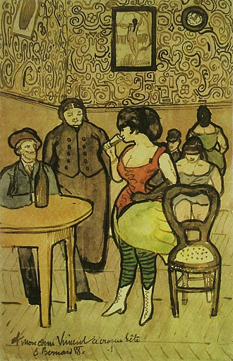 1888 in art - Image: Émile Bernard Brothel Scene for Vincent 1888