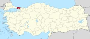 Istanbul (I) fremhevet i rødt på et beige politisk kart over Turkeym