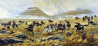 Russo-Turkish War (1877–1878) - Dragoons of Nizhny Novgorod pursuing the Turks near Kars, 1877, painting by Aleksey Kivshenko
