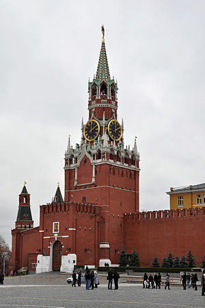 Moscow - Spasskaya Tower was built in 1491