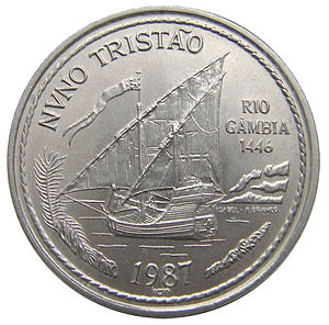 Nuno Tristão - 1987 Portuguese escudo coin depicting Nuno Tristão's journey to the Gambia River (sic) in 1446