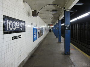 103rd Street (IND Eighth Avenue Line) - Downtown platform on lower level