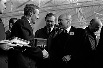 Tony Benn - Tony Benn shaking the hand of Maurice Papon during the official presentation of Concorde, 11 December 1967. Photography by André Cros, Archives of Toulouse.