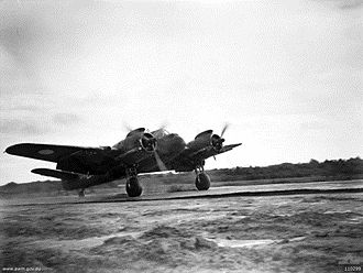 No. 77 Wing RAAF - Beaufighter of No. 31 Squadron, part of No. 77 Wing, landing on Tarakan airstrip, Borneo, 1945